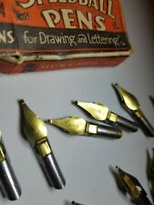 Speedball Pens Hunt Mfg Co. Box Set of A4 Pen Ink Nibs for drawing, in Vtg Box
