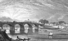 PARIS. Pont Bois, Choisi--Roi. river bridge 1828 old antique print picture