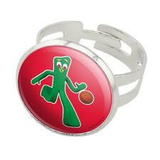 Sporty Gumby Basketball Player Clay Art Silver Plated Adjustable Novelty Ring