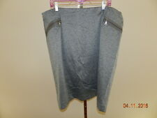 AVENUE STRETCH DARK GRAY KNEE LENGTH SKIRT zippered pockets  SZ 22/24
