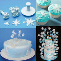 3 Pcs Cake Xmas Snowflake shape Plunger Fondant Decor Sugarcraft Mold Cutter NIU