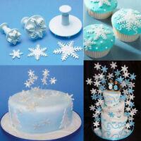 3 Pcs Cake Xmas Snowflake shape Plunger Fondant Decor Sugarcraft Mold Cutter