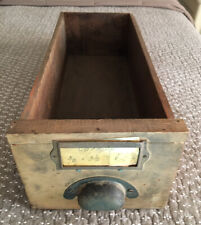 Vintage Industrial Wood Hardware Parts Drawer with Metal Pull 17.75x6x4.5