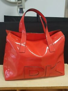 Dkny Red Patent Leather Tote Bag