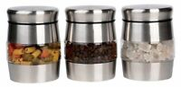 Set of 3 Kitchen Storage Canisters Jars Pots Food Spice Tea Coffee Sugar Silver