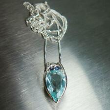 1.70ct Natural Aguamarina & Zafiros Azules Collar Colgante Plata Esterlina 925