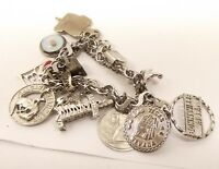 Vtg Sterling Silver 11 Charm Bracelet Mustard Seed Amulet Faith Oil Rig Beehive