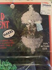 VTG Fibre-Craft CRYSTAL FOREST DEER SCENE Sequin Bead Christmas Ornament Kit NOS