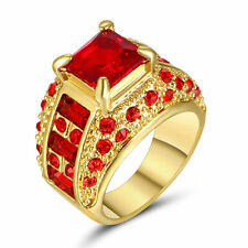 Women's Princess Cut Red Ruby Wedding Ring Band 10KT Yellow Gold Filled Size 6