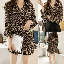 Women Sexy Leopard Printed T Shirt Ladies Long Sleeve Blouse Tunic Top Plus Size