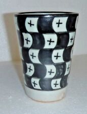 TRADITIONAL HAND PAINTED CERAMIC TOOTH BRUSH BEAKER  FES POTTERY