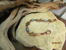 Copper Gold tone Vigvam, Animals, Indian's face, Turquoise Linked  Bracelet