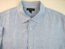 BANANA REPUBLIC 100% LINEN Casual Shirt XL 17.5 Blue Embroider Pattern Classic