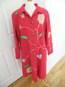 STUNNING INDIGO MOON COAT SIZE LARGE RED WITH FLORAL EMBROIDERY & APPLIQUE VGC