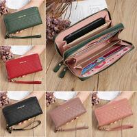 Women Leather Clutch Long Wallet Phone Card Holder Zipper Purse Wristlet Handbag