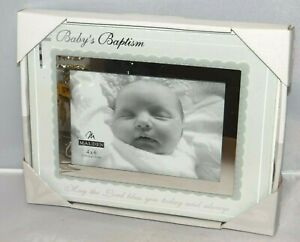Malden Baby's Baptism Glass Photo Picture Frame 4x6 NIB Baby Baptism