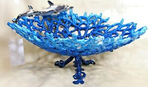 Coral Enameled Dish pewter with Dolphins table top art decor