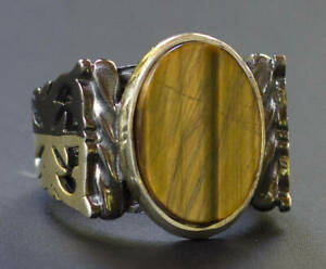 Tiger Eye Gemstone Solid 925 Sterling Silver Statement Boys Mens Ring Jewelry