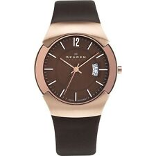 SKAGEN 981 XLRLD Black Label ejecutivo en tono Rosa Dorado/Marrón Reloj £ 199rrp Nuevo