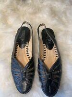 Pikolinos Sling Back Kitten Heel Sandals 36 size 5.5 6 Black Leather Laser Cut