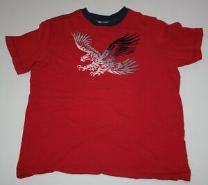 Used Hanna Andersson Boys 150 12 year Top Short Sleeve Eagle Art Tee Red Soft
