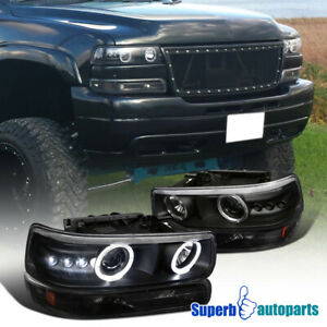 For 1999-2002 Chevy Silverado Halo Headlights LED Tube+Bumper Lamps Black Tahoe