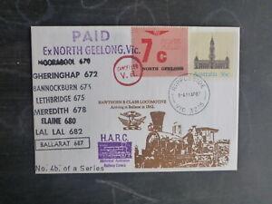 1987 125th Nth GEELONG- BALLARAT ANNIV CARRIED TRAIN COVER