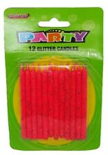 PASTEL PINK GLITTER CANDLES PACK OF 12 BIRTHDAY PARTY SUPPLIES CAKE TOPPER