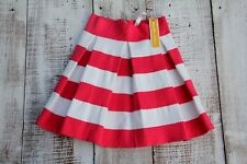TOUCH ME Juniors Size SMALL Striped Pink White Pleated Skirt NEW
