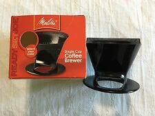 Pour Over Melitta Ready Set Joe One-Cup Coffee #2 Cone Size Black Plastic