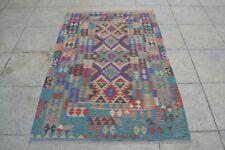 7'8 x 5'2 Handwoven Afghan Kilim Area Rug Oriental Carpet Sheep Wool Kelim #6868