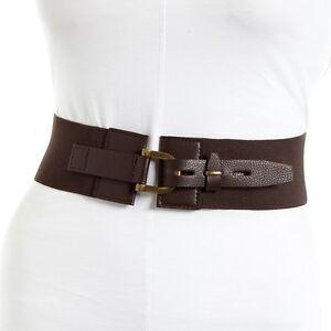 Nautica Women's Elastic Belt Chocolate/Ant Brass Size Large New