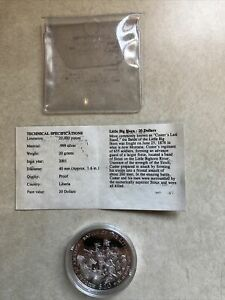 2001 Liberia Battle of the Little Big Horn $20 Silver Coin with COA Proof