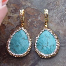 2.8'' Blue Turquoise  trimmed with macarsite Earrings
