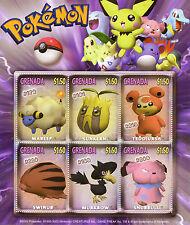 Grenada 2002 MNH Pokemon Mareep Sunkern Swinub 6v M/S Nintendo Stamps