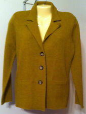 Eileen Fisher Sweater Jacket Mustard Color Size XSmall Wool Washes Notch Collar