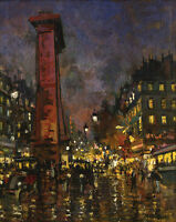 Oil painting impressionism street Arc de Triomphe Paris France Hand painted