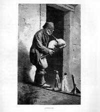 Stampa antica ZAMPOGNARO campagna di Roma con marionette 1877 Old print Rome
