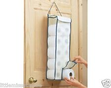 HANGING TOILET ROLL FABRIC BEHIND DOOR BATHROOM STORAGE DISPENSER HOLDER PAPER