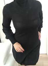 CUE WOMENS DRESS GREY Fine  KNIT WOOL BLEND LONG SLEEVE Turtleneck SZ M
