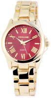 Excellanc Damenuhr Rot Gold Römische Ziffern Analog Metall Quarz X180305000033