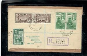 FIJI ISLANDS COVER (P0303B) KGVI 1951 HEALTH SETX2+1/2D REG SUVA TO ENGLAND