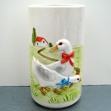 RARE handcrafted Otagiri GEESE VASE / UTENSIL CADDY path to farm house Japan EUC