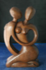 "Beautiful Hand Carved Lovers By A Master Carver In Suar Wood 12 ""x 7""Inches WIde"