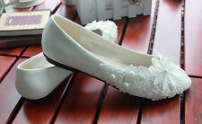 Ballerine scarpe donna rasoterra bianco lucido pizzo sposa  8421