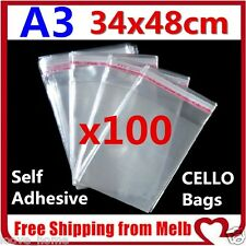 100x A3 Cello Bag 34x48cm Cellophane Clear Resealable Plastic Self Seal Adhesive