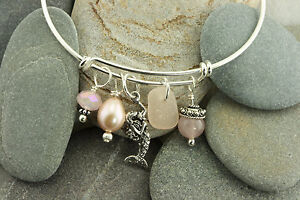 Sterling Silver Adjustable Charm Bracelet with Rare Pink Genuine Sea Glass