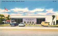 Linen Postcard; U.S. Post Office, Palmetto Fl Manatee Co. Old Cars Van Unposted