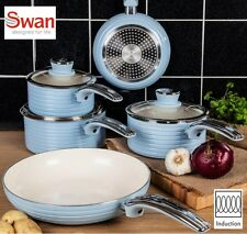 Swan Aluminium Blue Retro 5 Piece Pan Set - Non-stick - INDUCTION READY