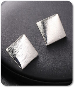 Ear Clips Earrings Clip Earrings Metal Square 19 MM X Silver